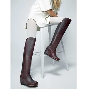 🆕 SOREL brown leather wedge tall OTK boots- 8